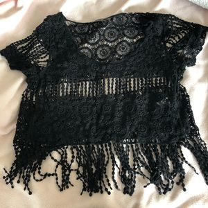 Black cropped shirt cover up